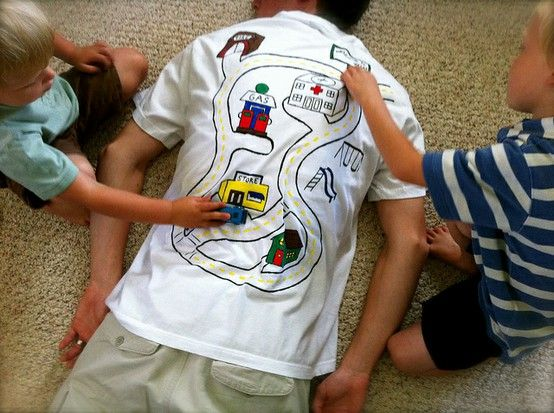 Want to give your husband a massage for Father's Day? Make a race track on the back of his shirt and let the kids play!