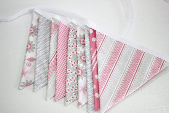Pink and gray fabric bunting baby girl nursery decor for Pink and grey nursery fabric