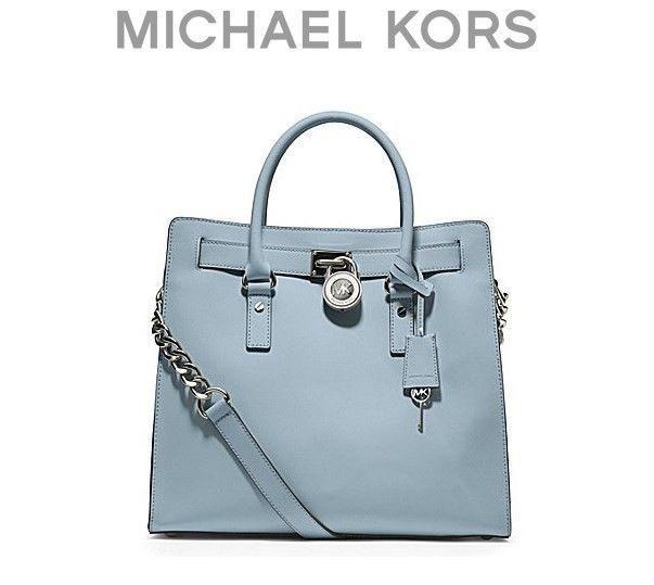 ... KORS Powder light Blue Satchel Leather Tote Purse bag Handbag L NWT