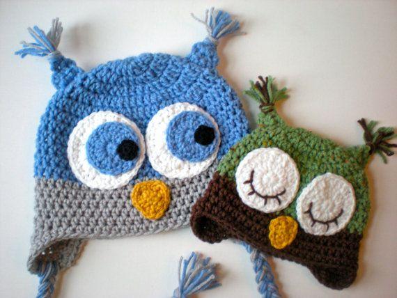 Easy Crochet Animal Hat Patterns : PATTERN: Owl Hat, size newborn to adult, baby kid animal ...