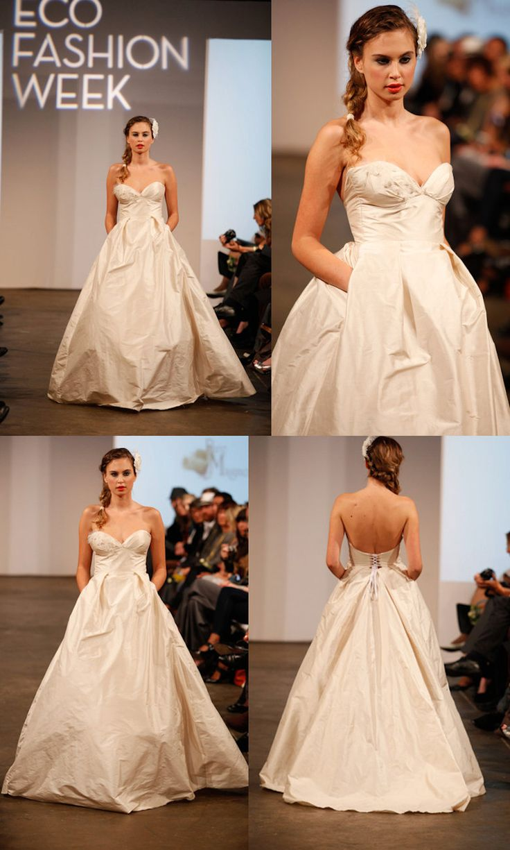 Sea shell ball gown wedding dress with pockets strapless sweetheart