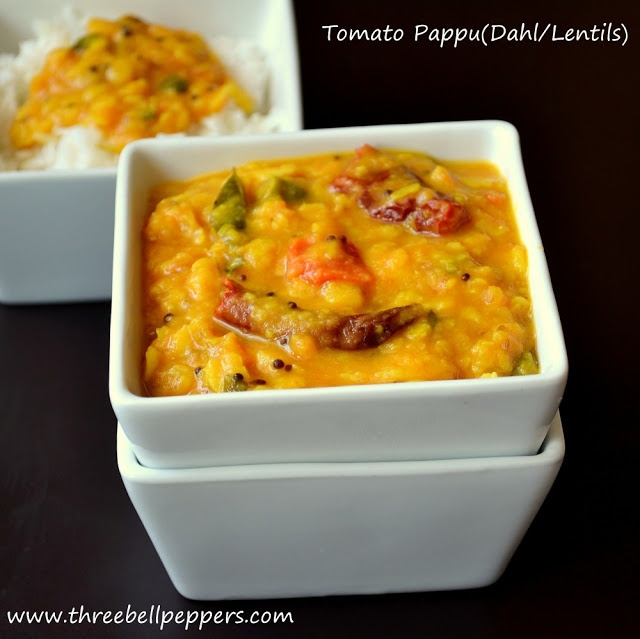 Three Bell Peppers: Tomato Pappu Tomato Lentils(Dahl) Curry)