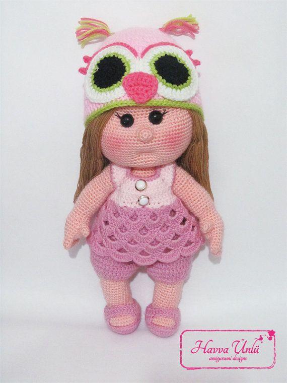 PATTERN - Baby doll with an owl hat (crochet, amigurumi)