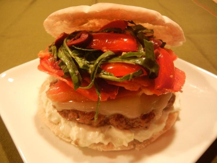 Grecian Ouzo Burgers with Feta Tzatziki Sauce