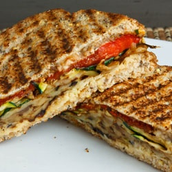 Eggplant and Zucchini Panini with Roasted Red Peppers, Hummus, Feta ...