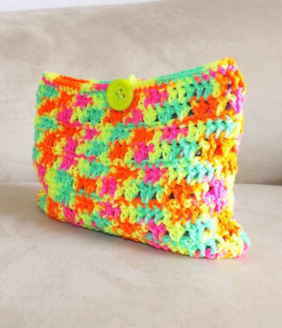 Crochet Cosmetic Bag Pattern : Crochet neon multicolored make up bag cosmetic bag by MyNicePurses, $ ...