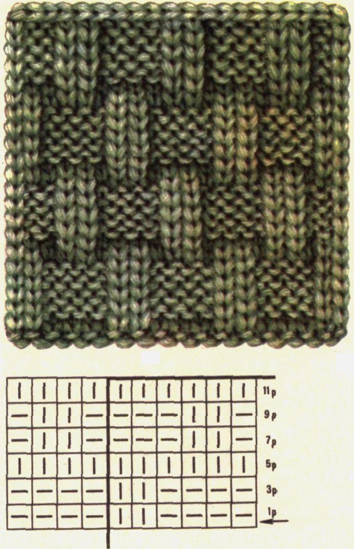 Вязание квадраты лицевые изнаночные