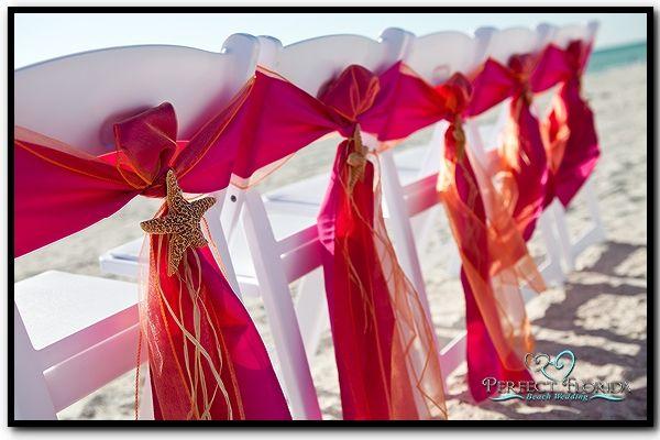 Beach wedding chair sashes beach weddings pinterest