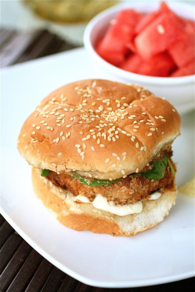 asian salmon burgers with miso dressing.( wheat buns)