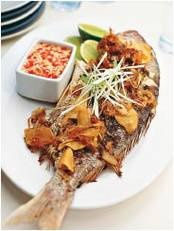 Whole Barbecued Fish with Lemon and Garlic Dipping Sauce