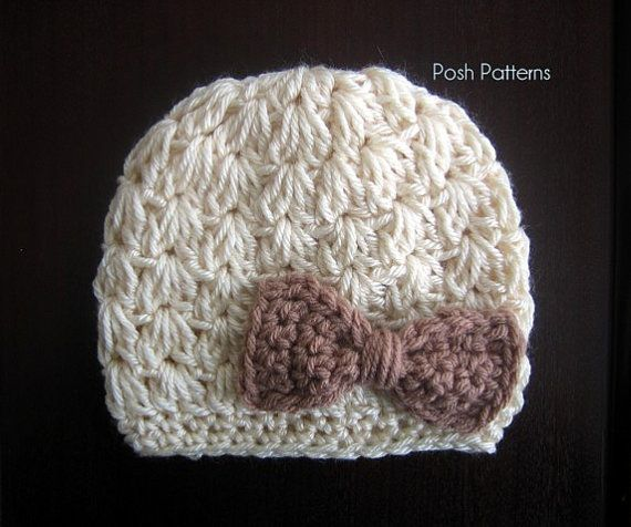 Crochet Patterns V Stitch : Crochet Hat PATTERN - Cluster V-Stitch Beanie & Bow Crochet Pattern ...