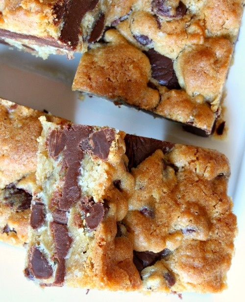 Gooey Chocolate Chip Sandwich Bars | sweet treats | Pinterest