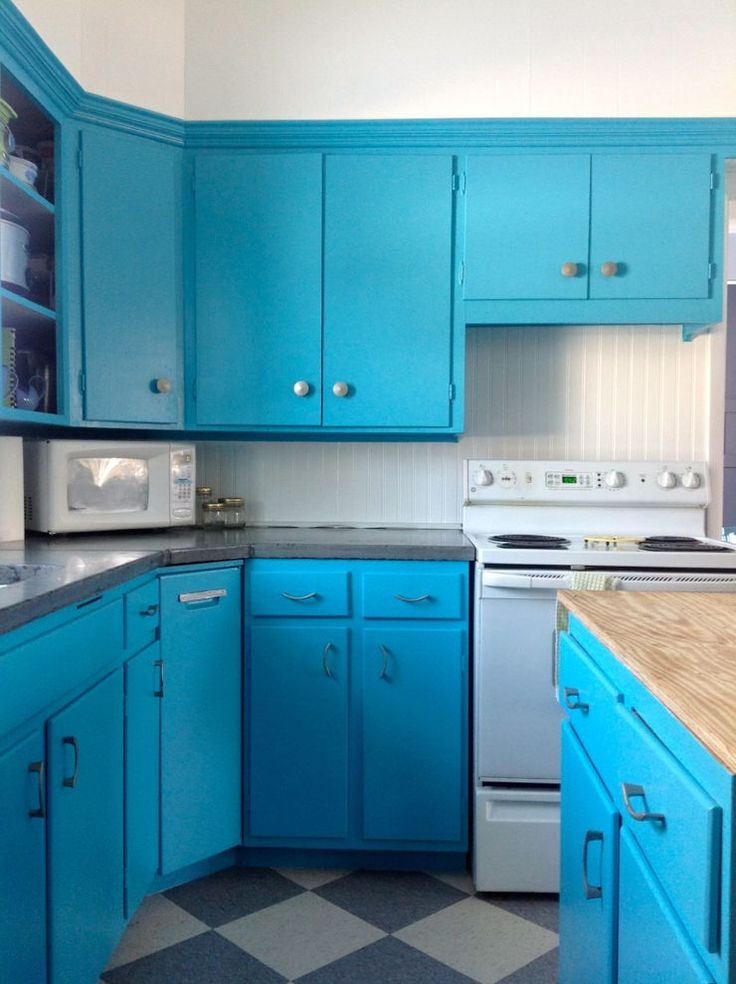 Turquoise Kitchen After Progress Concrete Cement Countertops