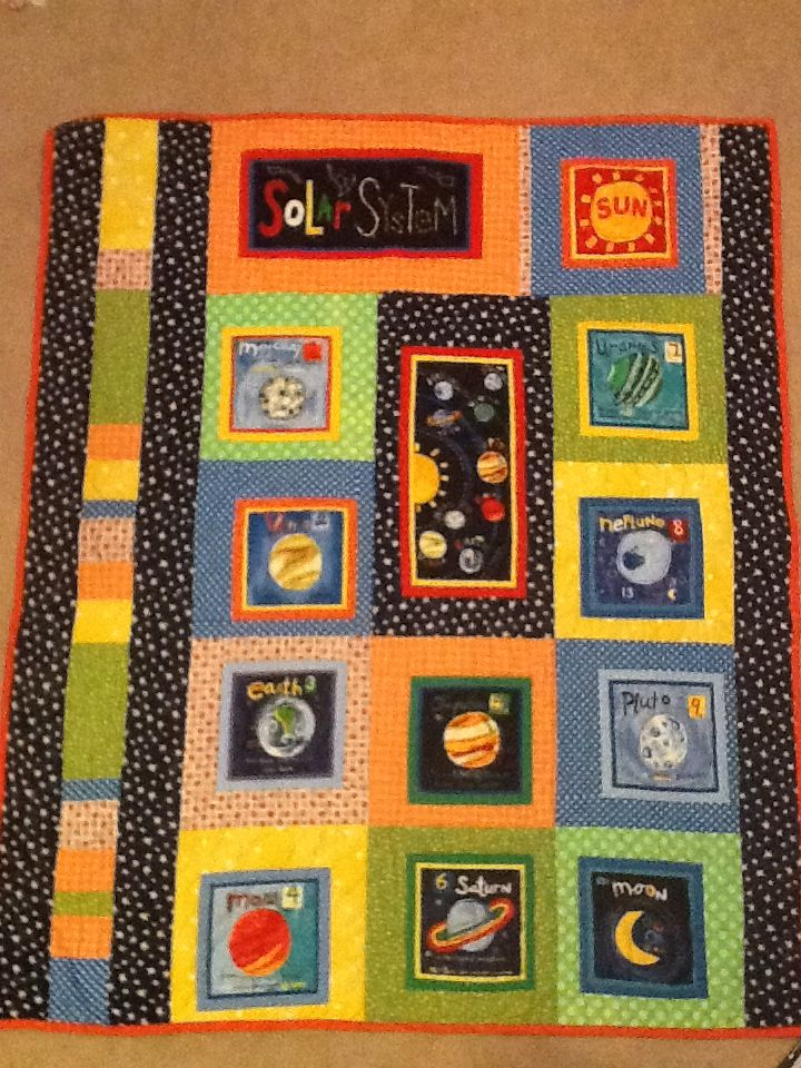 Pin by kathy thomas on quilts projects pinterest for Solar system fabric panel
