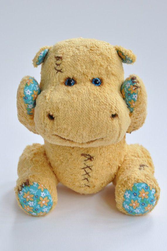 ... Teddy Bear hippo Pattern - hippo digital pattern - teddy bear