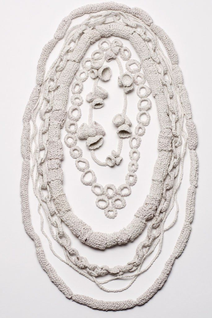 Yoko Uchi - Hiko Mizuno College of Jewelry, Tokyo, Japan - necklace, Growth process, 2013, toilet paper