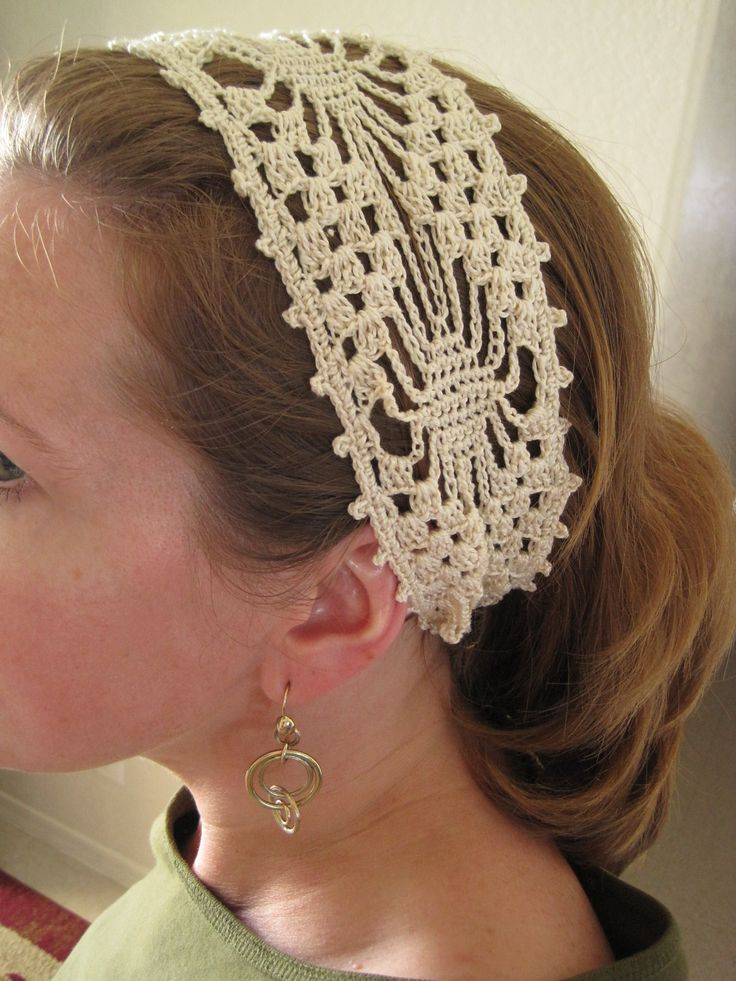 Free Knitting Patterns For Lace Headbands : Spider-Lace Wide Headband pattern by Cirsium Crochet