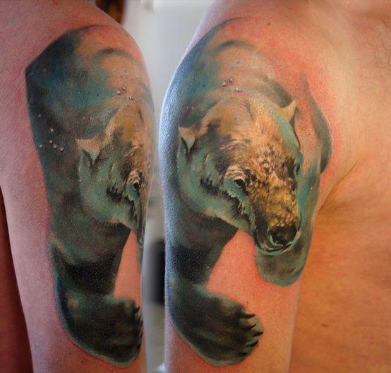 Baby Polar Bear Tattoo Polar bear tattoo. via barbara schuckar