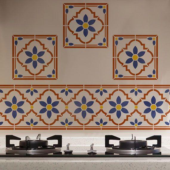 Taj Tile Motif Indian Furniture Stencil
