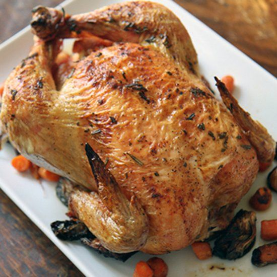 Lemon and Herb Roasted Chicken with Carrots and Fennel.