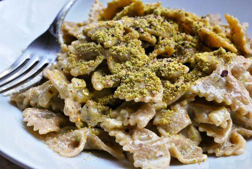 Farfalle with Pistachio Cream Sauce (sub cream with vegan milk). (made ...
