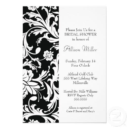 Pinterest for Black and white bridal shower invitations