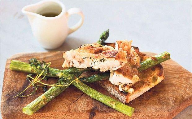Ricotta-stuffed roast chicken with roast asparagus recipe