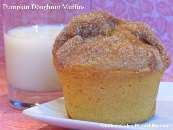 Pumpkin Doughnut Muffins | www.CookiesCakesPiesOhMy.com | Pinterest