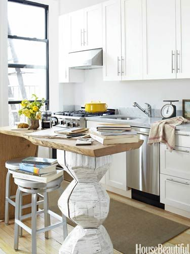 In a Brooklyn, New York, kitchen, designers Fitzhugh Karol and Lyndsay Caleo added a unique island to the small space.