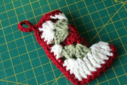 Free Crochet Pattern For Granny Square Christmas Stocking : Granny Square Stocking Ornament Crochet Pattern Eating ...