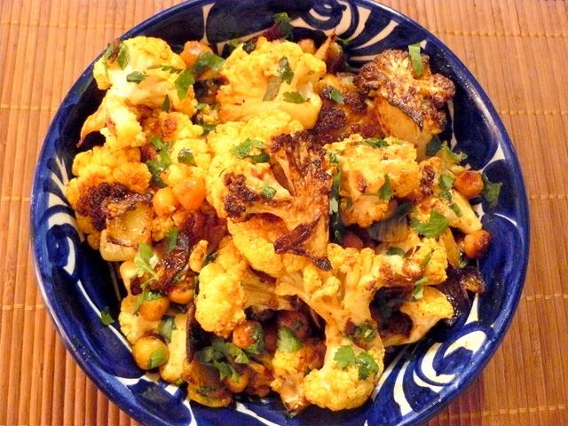 Roasted Curried Cauliflower comments: use less oil; use a sweet onion ...