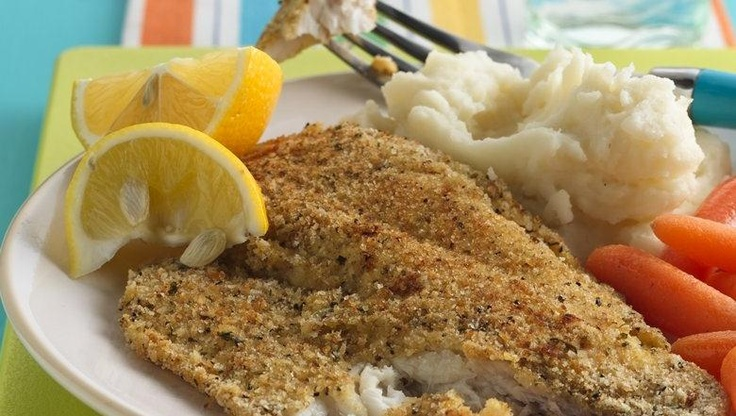 Enjoy this crispy fish baked with bread crumbs. It's a tasty dinner ...