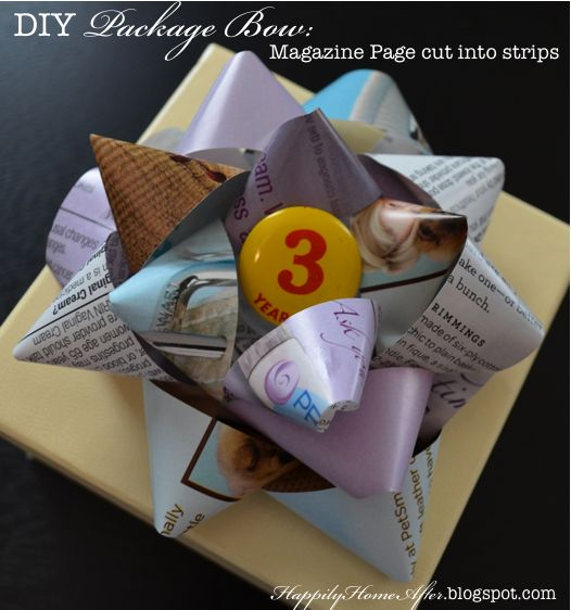 DIY bow out of magazine page strips - I'm thinking of trying this with Newspaper/print, and seeing if ModPodge would keep the ink from smearing off