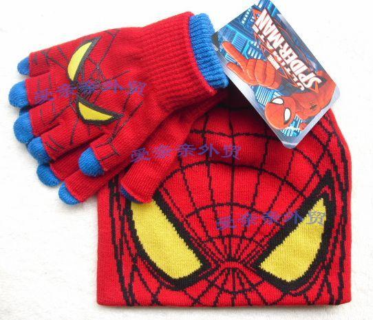 Spider-Spider-man children's winter hats gloves double layer thickened ...