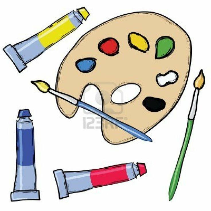 9152195-painting-set--palette-brush-tube-of-tempera.jpg (1200×1200)