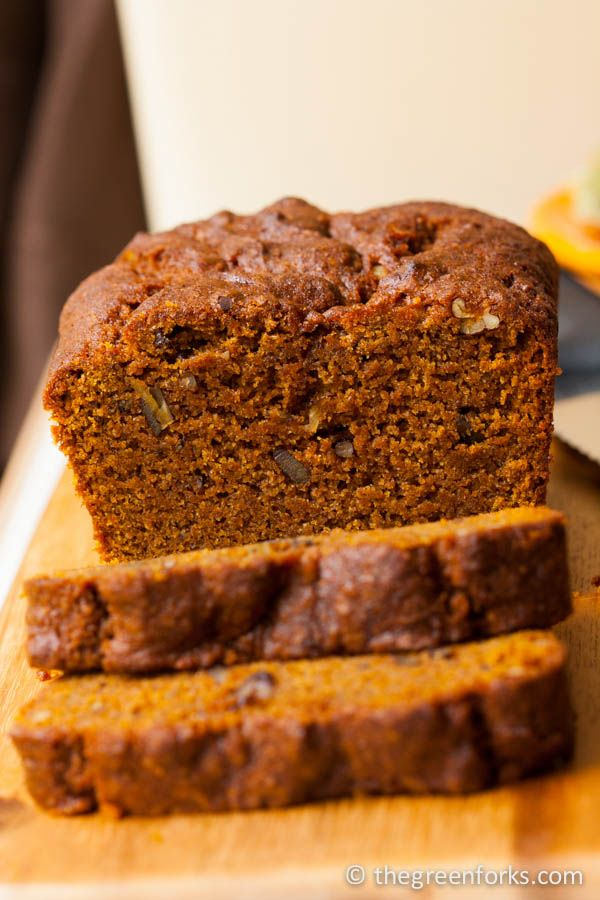 Pumpkin Quick Bread made with whole-grain flour and coconut oil. Vegan ...