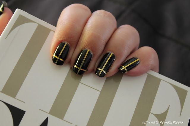 Black & gold cross nails Hanna's PowderRoom Blog