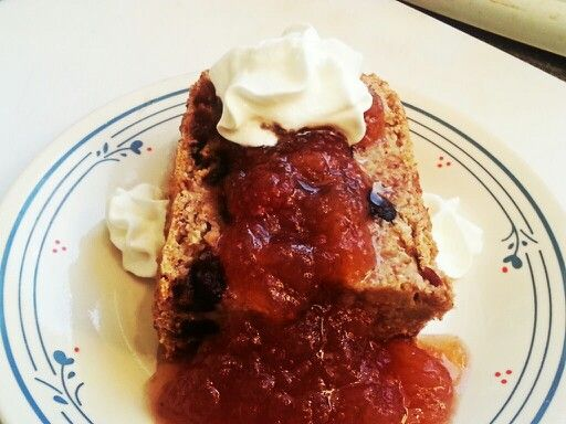 ... Cranberry Almond Loaf/Cake topped with Homemade Apple Strawberry Sauce