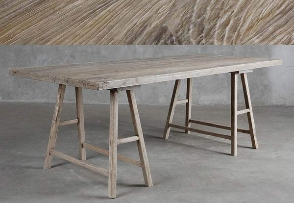 Desk With Sawhorse Base In Reclaimed Elm HP Pop Up Pinterest