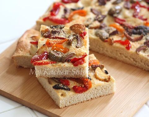 ... Snippets: Focaccia with Roasted Garlic, Pickle Peppers and Olives