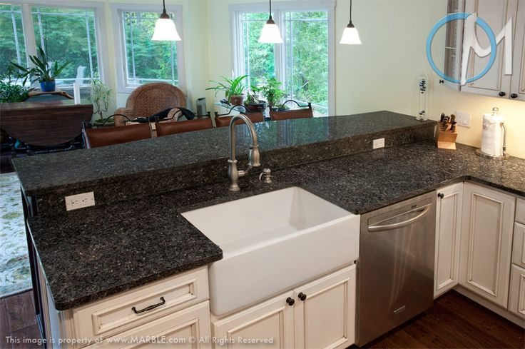 "Blue Pearl SP Granite - sink and dishwasher on ""island"" - raised counter for eating; prefer stainless sink"
