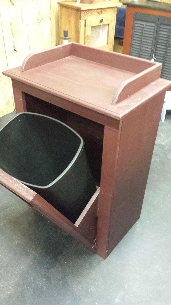 Handmade Wooden Trash Bin In Country Red By Beadazzledandbeyond Kitchen Pinterest