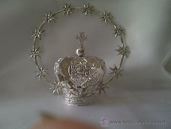Aro de estrellas y Corona de plata de ley 950. Canasto mide 5 cms.  (Antigüedades - Religiosas - Ornamentos Antiguos)