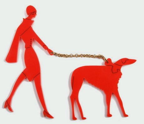 TATTY devine-(Harriet Vine & Rosie Wolfenden)- ady-and-dog- orange-red-big brooch-
