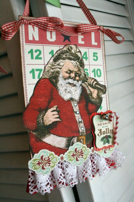 Vintage Style bingo card Christmas NOEL Santa decoration party decor ...