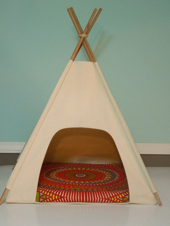 Dog teepee cat teepee modern pet bed natural canvas for Dog tipi diy