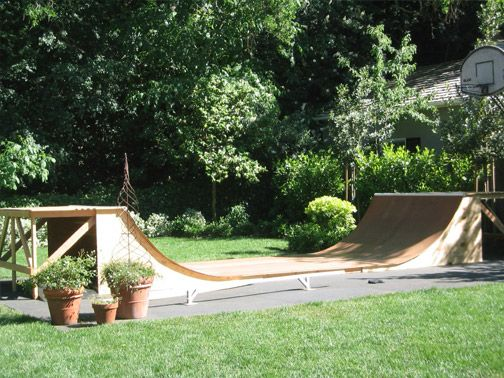 with a skateboarding ramp in my back yard for brandon