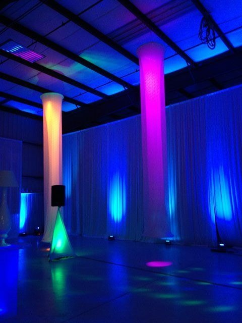 Swag pipe and drape style audio visual uplit drape for Pipes and lights