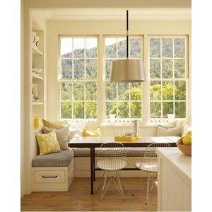 kitchen window seat decorating