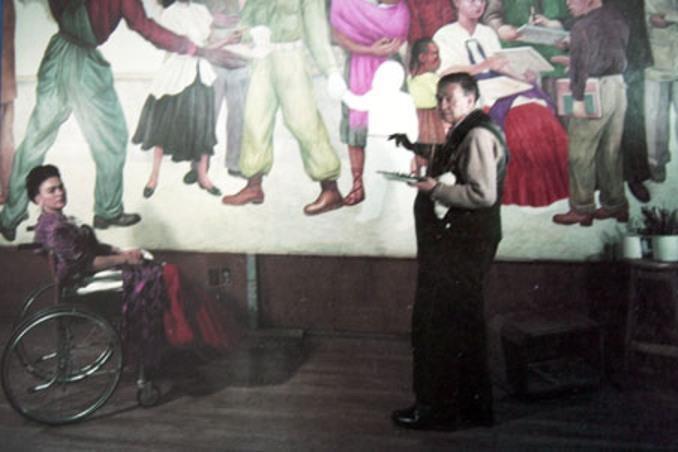 """Imagen a color del mural perdido de Diego: """"Pesadilla de guerra, sueño de paz""""(1951)."""